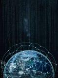 Réseau global sur terre -- Éléments de cette image meublés par la NASA Image libre de droits