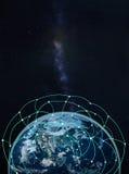 Réseau global sur terre -- Éléments de cette image meublés par la NASA Photographie stock libre de droits