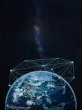 Réseau global sur terre -- Éléments de cette image meublés par la NASA Images stock