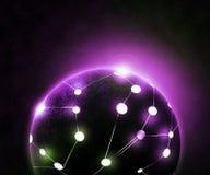 Réseau global Violet Background Images stock