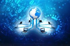 Réseau informatique global, concept global de communication d'Internet rendu 3d Images stock
