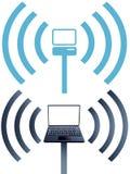 Réseau informatique sans fil de wifi de symboles d'ordinateur portatif Images libres de droits
