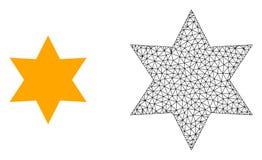 Réseau Mesh Six Corner Star de vecteur et icône plate illustration stock