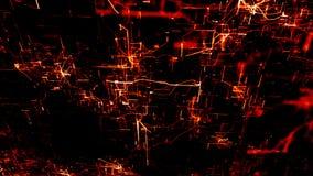 Réseau neurologique artificiel Noeuds électroniques rouges dans le cyberespace électronique image libre de droits