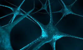 Réseau neurologique Neurones 3d rendent illustration de vecteur
