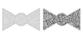 Réseau polygonal Mesh Bow Tie et icône de mosaïque illustration stock
