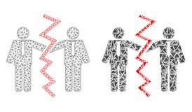 Réseau polygonal Mesh Businessmen Divorce et icône de mosaïque illustration de vecteur