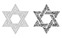 Réseau polygonal Mesh David Star et icône de mosaïque illustration de vecteur