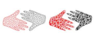 Réseau polygonal Mesh Fair Trade Handshake et icône de mosaïque illustration libre de droits