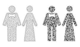 Réseau polygonal Mesh Just Married Persons et icône de mosaïque illustration stock
