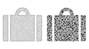 Réseau polygonal Mesh Luggage et icône de mosaïque illustration stock