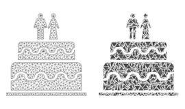 Réseau polygonal Mesh Marriage Cake et icône de mosaïque illustration stock