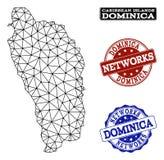 Réseau polygonal Mesh Vector Map des timbres grunges de Dominica Island et de réseau illustration libre de droits
