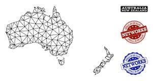 Réseau polygonal Mesh Vector Map des timbres grunges de l'Australie et du Nouvelle-Zélande et du réseau illustration libre de droits