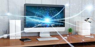 Réseau rougeoyant de flottement de point sur le rendu 3D de bureau Photos libres de droits