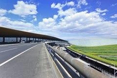 Réseau routier autour du terminal d'aéroport capital de Pékin 3, deuxième plus grand terminal dans le monde Images libres de droits