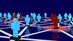 Réseau social avec les types bleus et les types rouges posant comme menaces Image stock