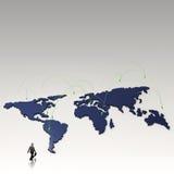 Réseau social 3d humain sur la carte du monde Photos stock