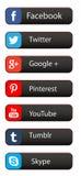 Réseau social de media sur des boutons de Web Images stock