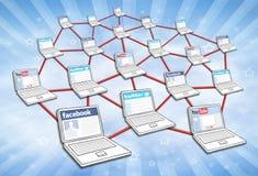 Réseau social de medias image stock