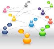 Réseau social de medias avec des bulles de la parole Photos stock