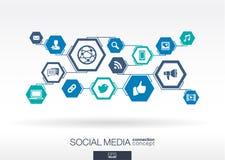 Réseau social de medias Fond abstrait d'hexagone Photographie stock libre de droits