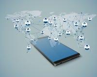 Réseau social global Causerie mobile Connexion réseau Access au réseau global dans l'APP mobile Illustration Stock
