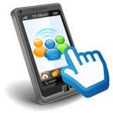 Réseau social sur Smartphone Photographie stock libre de droits