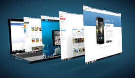 Réseau social sur un ordinateur portable Photos stock