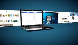 Réseau social sur un ordinateur portable Image stock