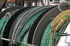 Réseaux sur le bateau de pêche Photos libres de droits