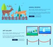 Réservation et Art Gallery Vector Web Banner animaux illustration libre de droits