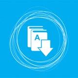 Réservez le téléchargement, icône d'e sur un fond bleu avec les cercles abstraits autour de et l'endroit pour votre texte illustration libre de droits