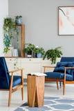 Réservez sur la table en bois entre les fauteuils bleus dans l'intérieur gris d'appartement avec l'affiche et les usines photo libre de droits