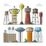 Réservoir aqueux de ressource de stockage de réservoir de vecteur de tour d'eau et haute eau-tour industrielle de conteneur de co illustration de vecteur
