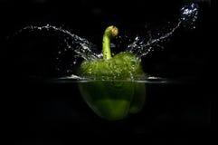 Réservoir d'éclaboussure de studio de poivron vert Photographie stock