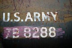 Réservoir d'armée en gros plan d'inscription images stock