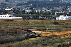 Réservoir d'armée israélien près de bande de Gaza Image libre de droits