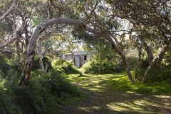 Réservoir d'eau de Dennis Hut et de ciment, Waitpinga, Australie du sud Photos libres de droits