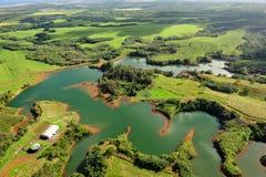 Réservoir d'eau de Kapai sur Kauai, Hawaï, Etats-Unis photo stock