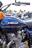 Réservoir (d'essence) et moteur de moto de vintage de Kawasaki Z900 avec des refections Image libre de droits