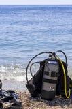 Réservoir d'oxygène et trains de plongée Images libres de droits