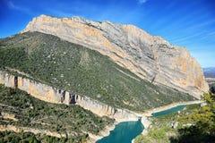 Réservoir de Canelles et gorge de Montrebei, Catalogne Images libres de droits