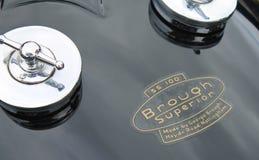 Réservoir de carburant britannique de moto des années 1930 de vintage Photos stock