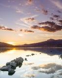 Réservoir de Santillana au coucher du soleil Photographie stock