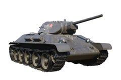 Réservoir moyen russe T-34 d'isolement Image stock