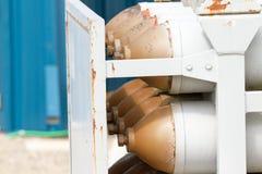 Réservoirs à gaz d'hélium Photographie stock