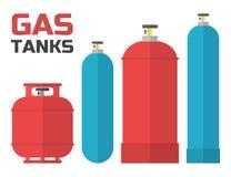 Réservoirs à gaz réglés Photographie stock libre de droits