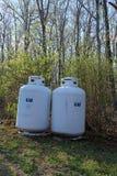 Réservoirs à gaz résidentiels Image stock