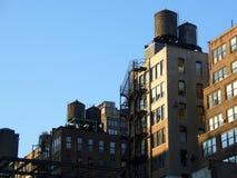 Réservoirs d'eau, Manhattan, New York Images libres de droits
